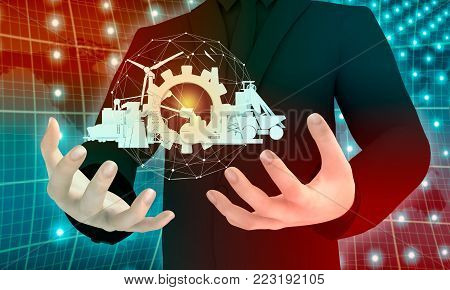 Man holding energy and power icons set in hands. Sustainable energy generation and heavy industry. 3D rendering