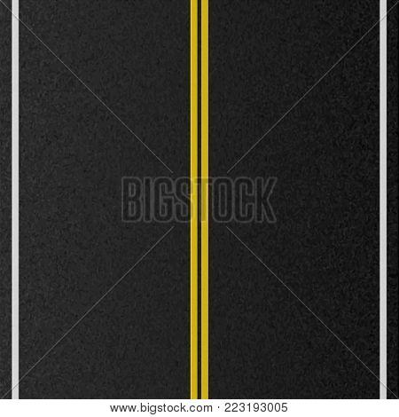 Design of empty urban road. Marking road, asphalt texture. Vector illustration