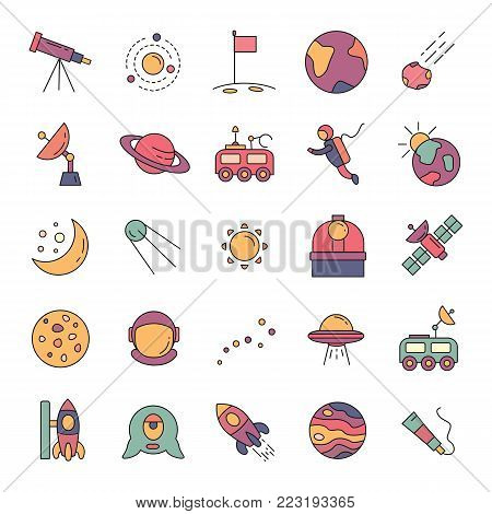 Space cartoon icons vector set. Collection of space objects with astrunaut, planet and moon isolated on white background.