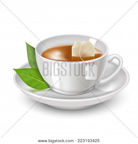 Realistic Detailed 3d Black Teabag and White Tea Cup Ad for Menu Cafe. Vector illustration of Breakfast Hot Beverage