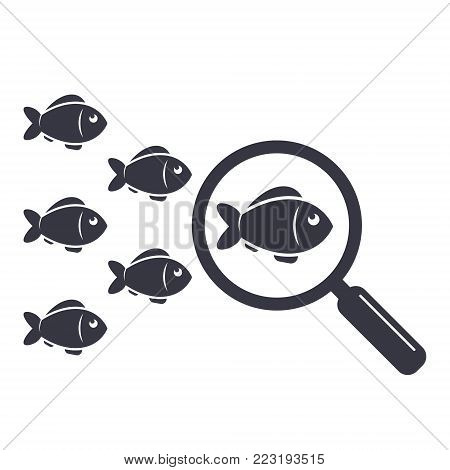 Search leader vector illustration. Leadership business concept. Crowd fish following behind the leader with magnifying glass. Vector simple illustration.
