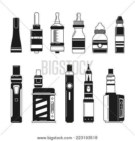 Electronic cigarettes and bottles for smoking club or shop. Vector monochrome pictures. Ilustration of electronic e-cigarette and liquid for atomizer and vaporizer