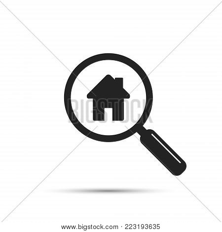 Search for house icon, vector. House and magnifying glass illustration.
