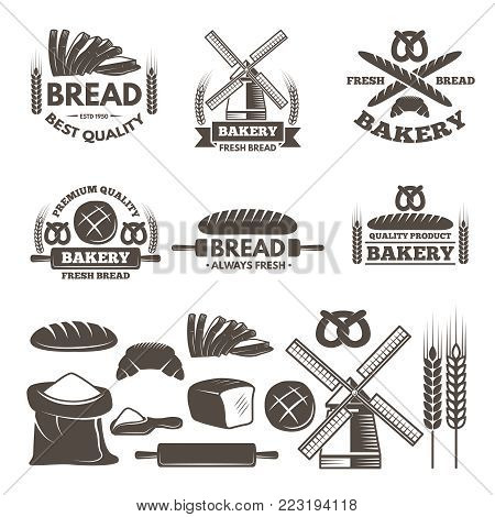 Monochrome labels set for bakery shop. Vector templates with place for your text. Illustration of bakery shop label and badge