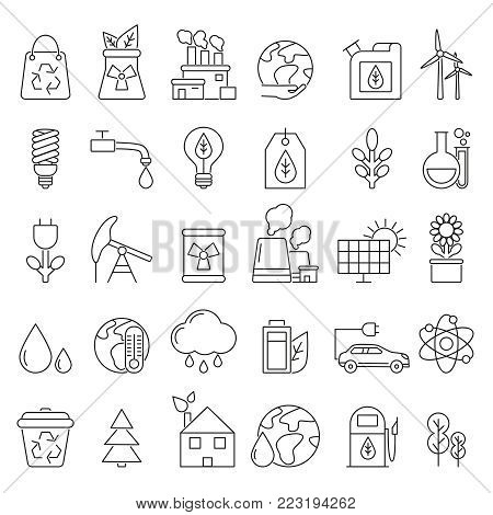 Eco symbols in mono line style. Industrial and ecology pictures set. Ecology and energy power, industry electric ecological station illustration