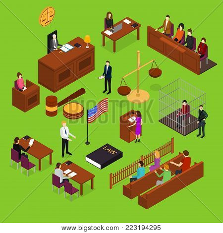Court Session Law and Justice Concept 3d Isometric View Include of Judge, Lawyer, Jury, Defendant and Witness. Vector illustration