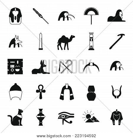 Egypt black simple silhouette Icons set. Vector illustration with Egypt object with pharaon, mummy and camel. Egypt culture and traditions. Historic objects.