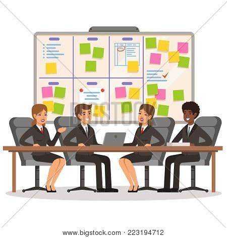Business team working and make some planning on the scrum board. Whiteboard and process teamwork, scheme methodology. Vector illustration
