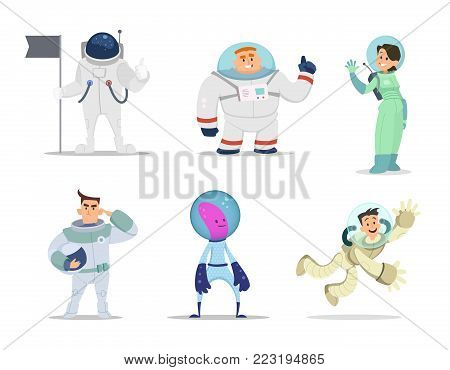 Male and female astronauts. Cartoon characters in action poses. Vector astronaut male and cosmonaut woman illustration