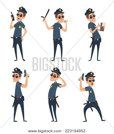 Funny cartoon characters of policemen in action poses. Man policeman in situation, cop pose various illustration