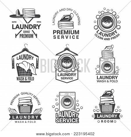 Labels or logos for laundry service. Vector monochrome pictures. Laundry logo and household wash illustration
