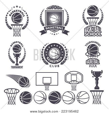 Sport logos with basketball monochrome pictures. Vector labels set isolate on white. Sport basketball label and emblem for championship or tournament illustration