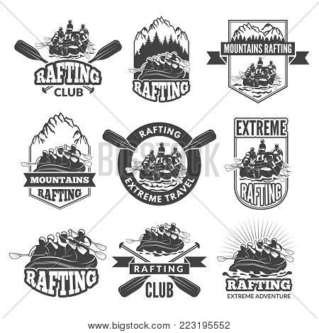 Vintage monochrome labels for dangerous water sports. Symbols of rafting. Pictures of kayak. Canoe extreme sport, rafting kayak adventure, vector illustration
