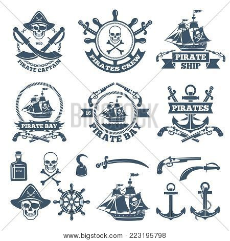 Vintage nautical and pirates labels. Monochrome logos of sea and sailing. Pirate label with skull and anchor, rum and weapon, vector illustration