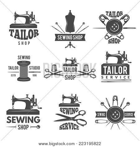 Different labels or logos set for tailor shop. Workshop emblem and badge atelier. Vector illustration