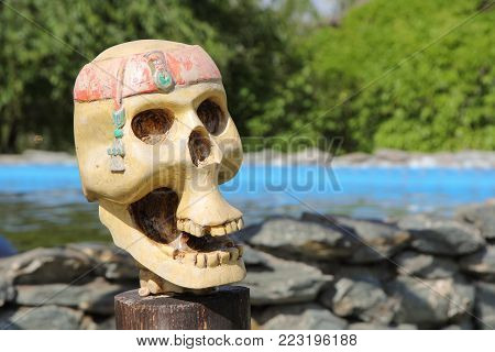 pirate skull on a tropical island. Thailand