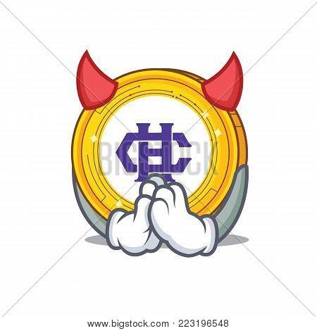 Devil Hshare coin mascot cartoon vector illustration