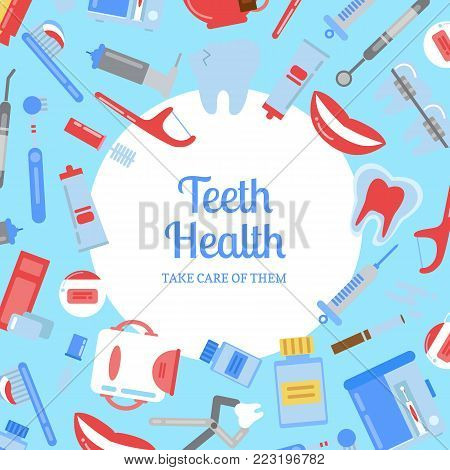 Vector flat style teeth hygiene background illustration with plain circle in center with place for text. Dental medical banner, tooth hygiene and health