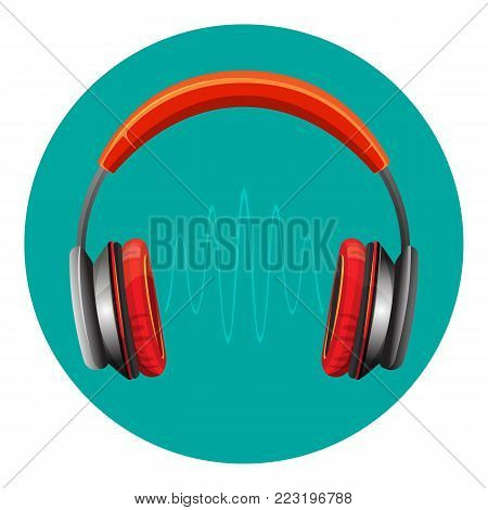 Modern loud headphones in red corpus with thin sound wave between speakers isolated cartoon flat vector illustration. Mobile device to listen to audio files.
