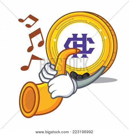 With trumpet Hshare coin mascot cartoon vector illustration