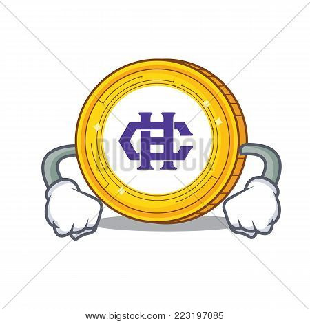 Angry Hshare coin mascot cartoon vector illustration