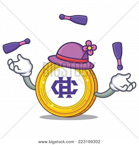 Juggling Hshare coin mascot cartoon vector illustration