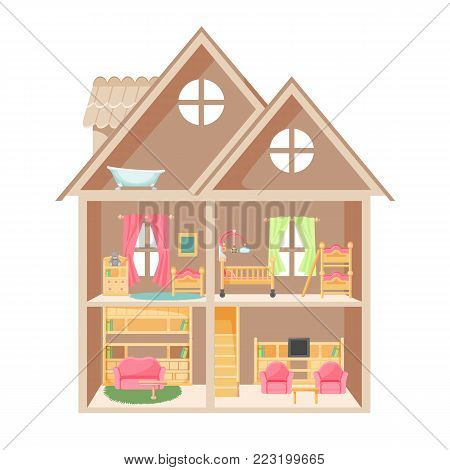 Doll house with two storeys and little furniture. Cozy childrens rooms, spacious living-room and bathroom in attic isolated cartoon flat vector illustration.