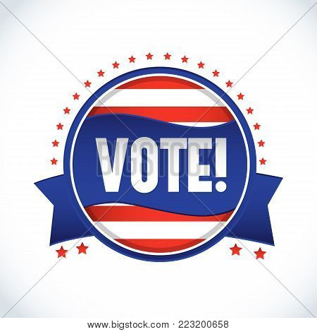 2016 usa presidential election vote label in form of circle on white background flat vector illustration