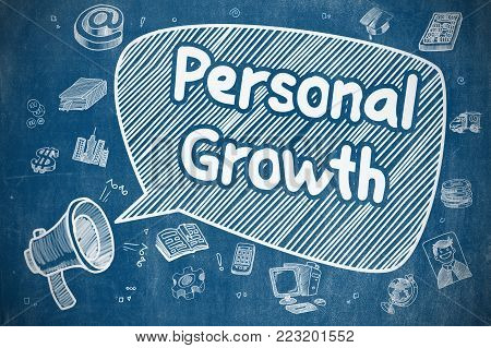 Business Concept. Bullhorn with Text Personal Growth. Doodle Illustration on Blue Chalkboard. Shouting Megaphone with Phrase Personal Growth on Speech Bubble. Cartoon Illustration. Business Concept.