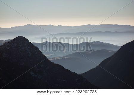 High mountain in morning time. Beautiful natural landscape. Stara planina, Balkan mountain, Bulgaria