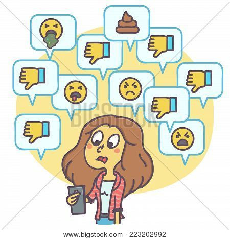 Cartoon illustration of woman looking at dislikes and negative comments on social network, funny vector drawing poster
