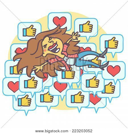 Overjoyed woman floating on positive and approval comment icons, vector cartoon of social network popularity concept