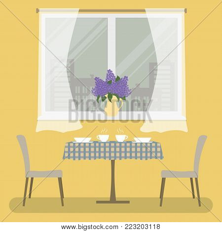 A table with a checkered tablecloth and two beige chairs on a window background. Yellow room. There is a vase with lilacs on the windowsill. Vector illustration