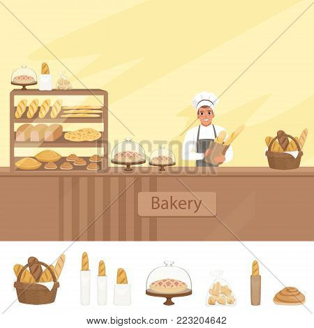 Bakery shop illustration with baker character next to a showcase with pastries. Young man in uniform, hat and apron standing behind the counter. Vector store background with design elements set.