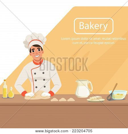 Illustration with man baker character kneading dough on the table with products. Smiling male in uniform, chef s hat and apron at work. Bakery shop background concept with place for text. Flat vector