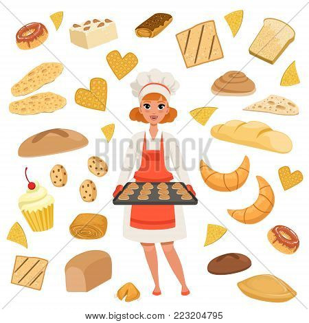 Beautiful woman baker standing with a baking tray with cookies. Cartoon female character in uniform, chef s hat and red apron at work. Bakery products and pastries set isolated on white. Flat vector