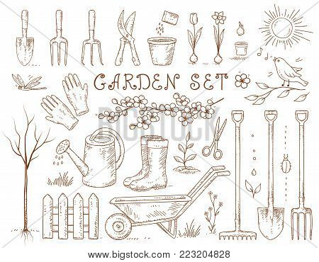 spring hand drawn garden set of isolated tools and gardening equipment