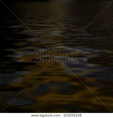 Luxurious, mysterious, abstract dark liquid Black drama background.3D rendering