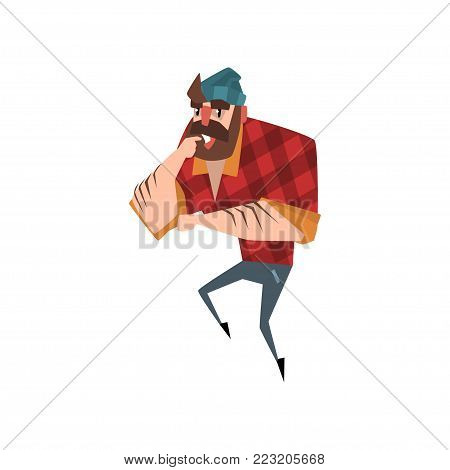 Cartoon forest man standing and thinking. Strong bearded lumberjack. Woodcutter dressed in red checkered shirt, blue jeans and hat. Colorful flat vector illustration isolated on white background.