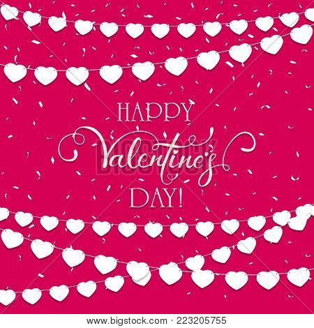 Lettering Happy Valentines Day on pink background with confetti and pennants in the form of hearts, illustration.