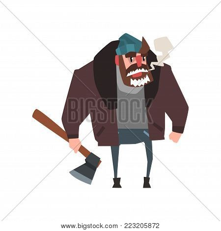 Strong man character with axe in his hand. Lumberjack with frozen beard. Cartoon character of woodcutter in warm clothes hat, sweater, jacket and jeans. Flat vector illustration isolated on white.