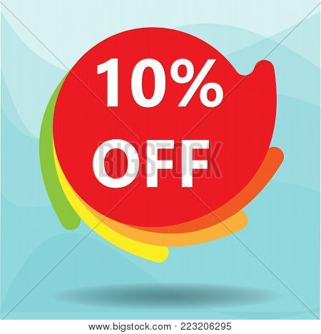 Special offer sale red tag isolated vector illustration. Discount offer price label, symbol for advertising campaign in retail, sale promo marketing, 10 off discount sticker, ad offer on shopping day
