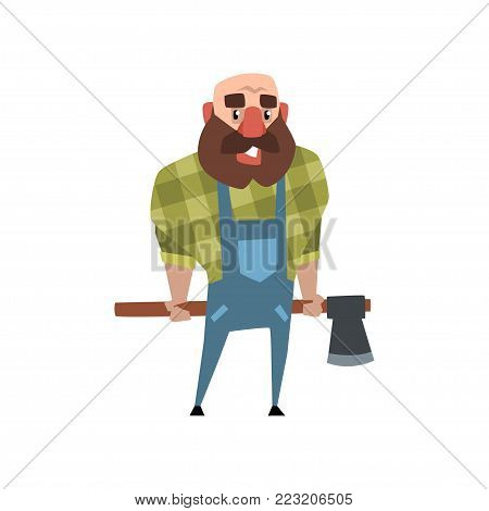 Cheerful lumberjack holding ax behind his back. Cartoon bald man with big beard. Woodcutter in green checkered shirt and blue coveralls. Colorful flat vector illustration isolated on white background.