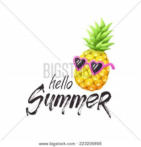 Hello summer grunge text with bright cartoon pineapple icon. Colorful pineapple in sunglasses isolated on white background. Vector illustration.