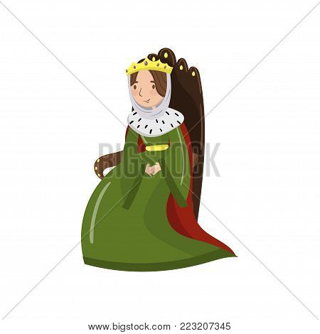 Majestic queen in golden crown sitting on wooden throne, fairytale or medieval character cartoon vector Illustration on a white background