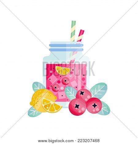 Cowberry-lemon smoothie in glass jar with ice cubes and drinking straws. Refreshing vegetarian cocktail. Tasty beverage. Organic and healthy juice. Flat vector design isolated on white background.