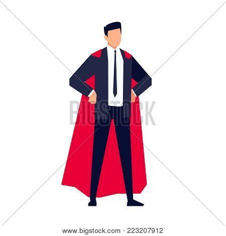 Businessman in a flat style isolated on white background.  Office worker in the cloak of a superhero. Vector illustration.