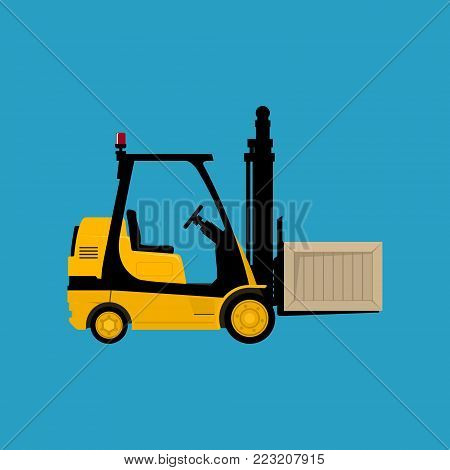 Yellow Forklift Truck Isolated on a Blue Background, Vehicle Forklift with a Box, Vector Illustration
