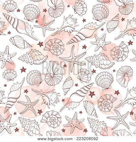 Marine seamless pattern from hand drawn vector sea shells and stars. Nautical illustration of shellfish with watercolor spots on white background.