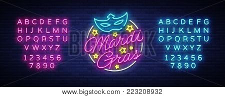 Mardi Gras design template for greeting cards, flyers, greeting. Fat Tuesday is a festive illustration in neon style, neon sign, holiday symbol, bright luminous banner. Vector. Editing text neon sign.